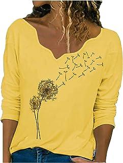 Dames lange mouwen tops paardenbloem patroon prints T-shirt V-hals trui herfst en winter blouse