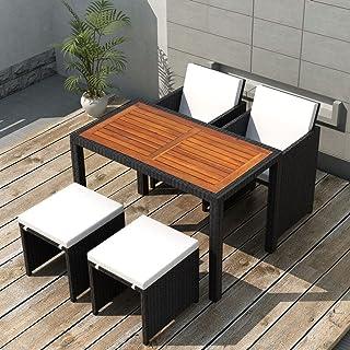 Tidyard Conjunto Muebles de Jardín de Ratán 11 Piezas con Taburetes Sofa Jardin Exterior Sofas Exterior Ratan Conjunto Jardin para Jardín Terraza Patio en Poli Ratán Negro y Marrón