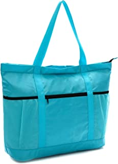 Large Foldable Beach Bag With Zipper - XL Foldable Tote Bag For Travel And Shopping - Large Tote Bag With Many Pockets