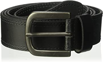 Dickies Men's Big and Tall 100% Leather Jeans Belt with Stitch Design and Prong Buckle
