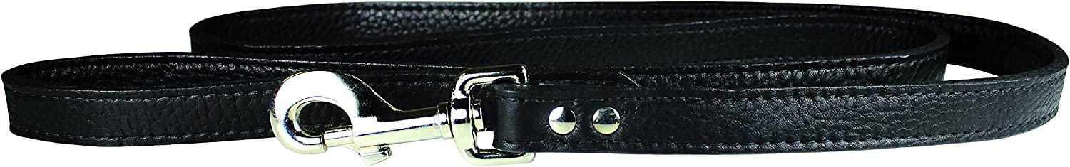OmniPet 6275BK Luxe Leather Dog Leash, Black, 3 4  x 4'