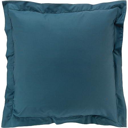 douceur d'intérieur taie d'oreiller volant plat 63 x 63 cm percale uni percaline bleu