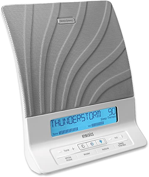 HoMedics Deep Sleep II Therapy Machine White Noise Device LCD Screen Remote Timer Dimmer Dual Speakers 12 Soothing Nature Sounds Masks Distractions 8 Sleep Therapy Programs