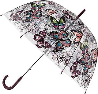 [レスリーチャン] 長傘 透明な傘 花柄 バードケージ傘 梅雨対策 晴雨兼用 カサ かさ 傘 耐風 軽量 ワンタッチ 大きな傘 ジャンプ傘 持ち手 おしゃれ かわいい?ギフト 誕生日 プレゼント (F,パープル)