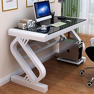 XM/&LZ Giochi per Pc Workstation Scrivania per Computer,Moderno Ergonomico Scrivania da Gioco con Tavolo di Vetro Temperato per Gamer,Casa Ufficio Scrittorio per Studio-G 31x24x30inch