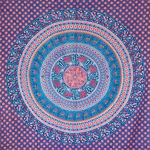 MOMOMUS Tapiz Mandala Étnico - 100% Algodón, Grande, Multiuso - Pareo/Toalla de Playa Gigante - Cubre Sofá/Cama - Telas para Decoración de Pared - 210x230 cm, Azul y Turquesa
