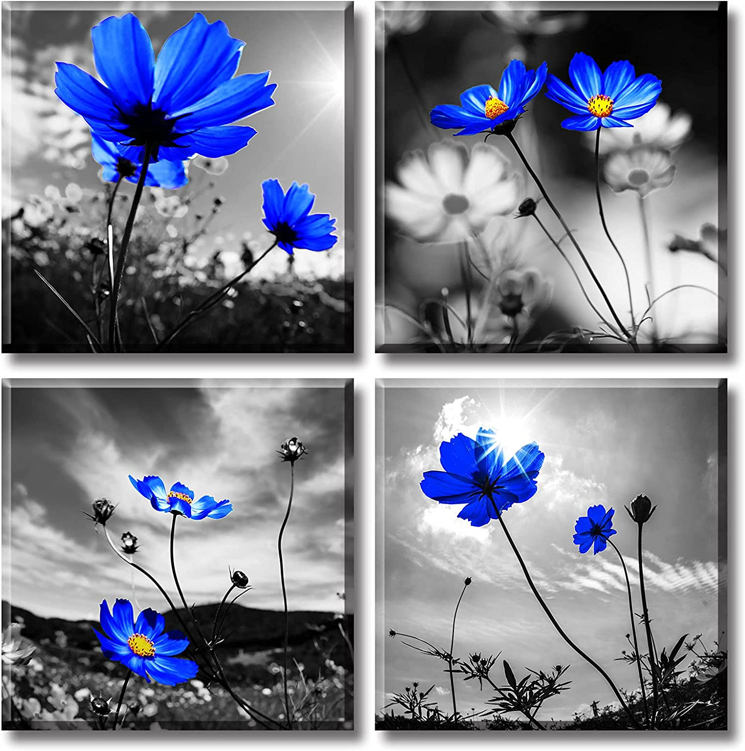Wall Art for Living room Blue Flowers Canvas Artwork Decor Modern Simple Florals Plant Poster Paintings Decorations 12