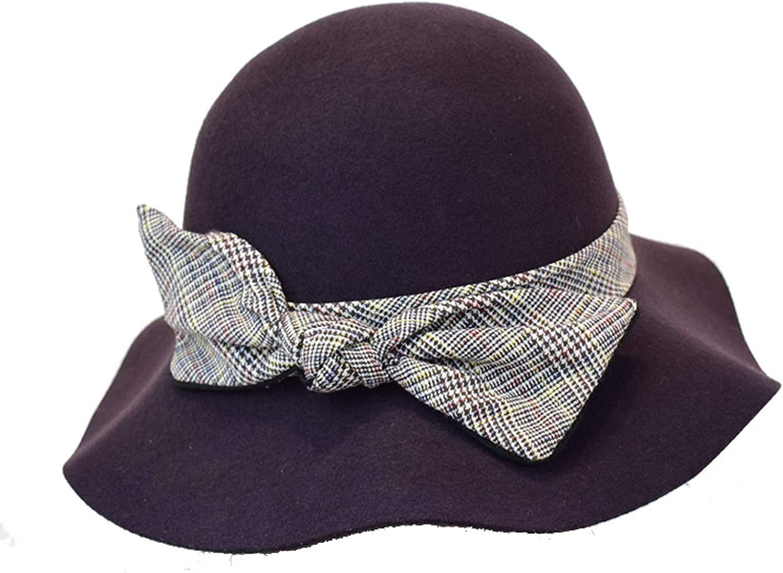 Womens Classic Wool Felt Round Fedora Hats Retro Wave Brim Cloche Hats Elegant Bowknot Dress Hat for Fall Winter
