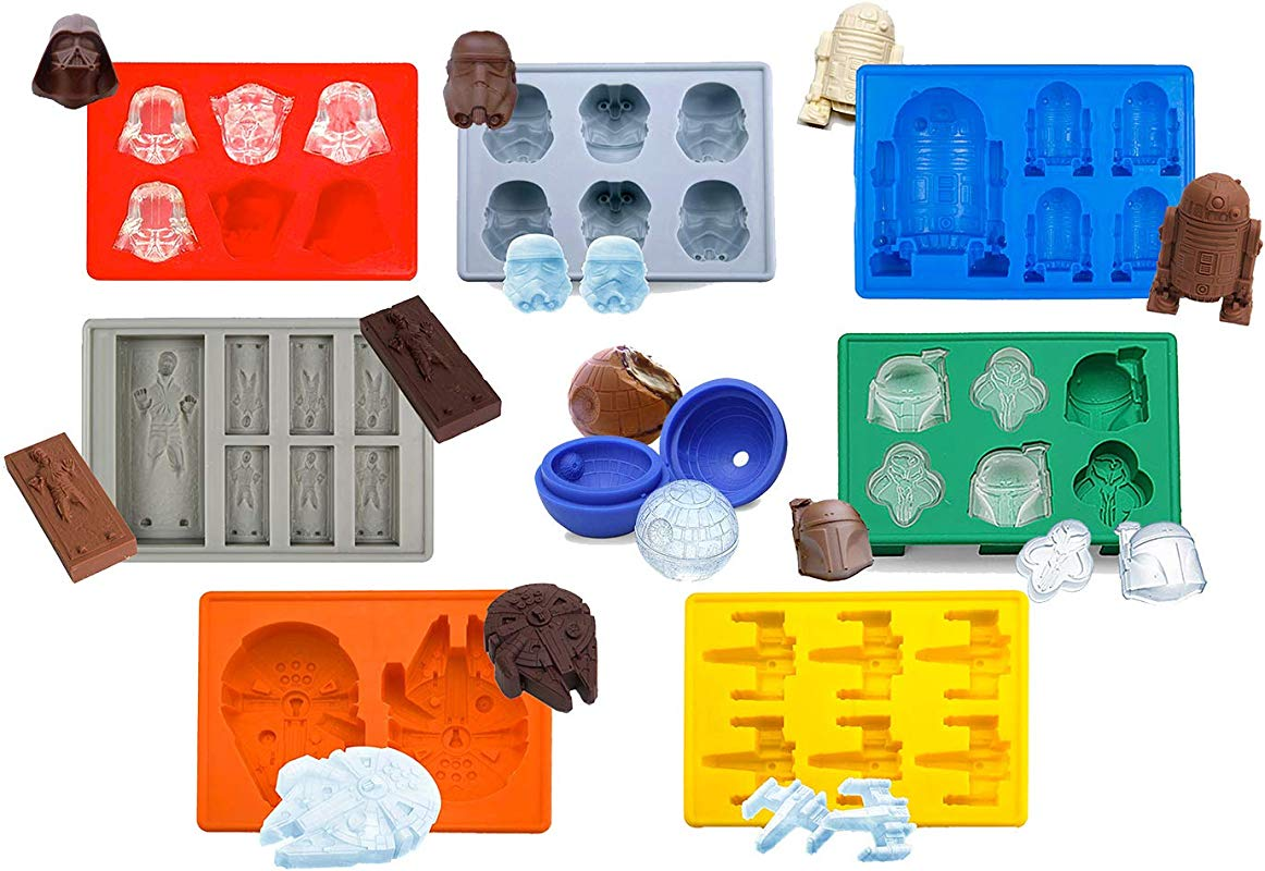 Set Of 8 Star Wars Silicone Ice Trays Chocolate Molds Stormtrooper Darth Vader X Wing Fighter Millennium Falcon R2 D2 Han Solo Boba Fett And Death Star