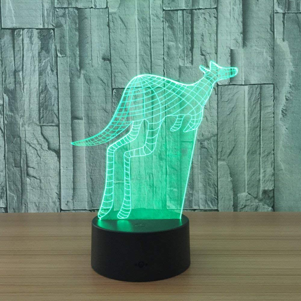 Kangaroo 3D LED Illusion Directly managed Raleigh Mall store Lamp Light Optical Night Bedside Table