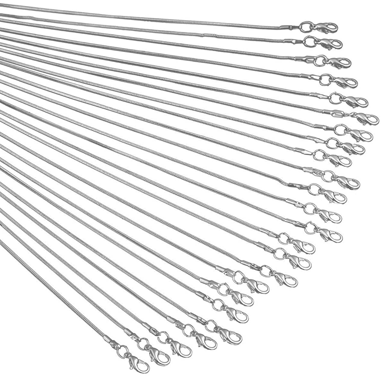 Snake Chains Necklace 24pcs 925 Silver Plated 1.2mm DIY Charms Link with Lobster Clasps for Jewelry Making (16 inch)