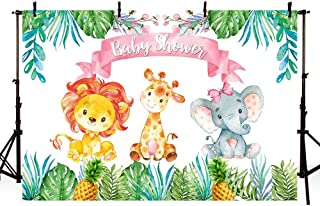 MEHOFOTO 7x5ft Safari Jungle Girl Baby Shower Party Backdrop Pink Princess Green Leaves Jungle Animals Pineapple Photography Background Photo Banner for Cake Table Supplies
