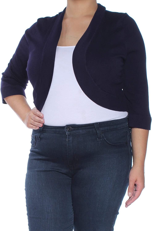 Jessica Howard Womens Plus Ribbed Knit Trim Open Collar Cardigan Sweater