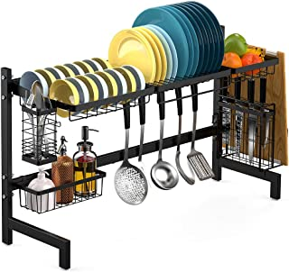 Over the Sink Dish Drying Rack, Veckle Stainless Steel Large Dish Rack Utensil Cutting Board Holder Dish Drainer Kitchen Counter Storage Rack, Sink Size ≤ 31 inch, Black