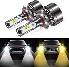 9005 HB3 Led Headlight Bulbs, 8000LM Extremely Bright Dual Color (6000K/3000K) Anti-Flicker Conversion Kit Halogen Bulbs Replacement - Cool White/Golden Yellow - 2 Years Warranty