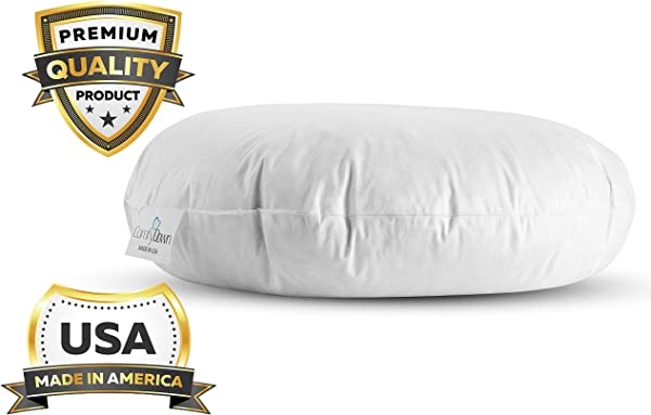 ComfyDown 95 Feather 5 Down Round Decorative Pillow Insert Sham Suffer Made In USA 32