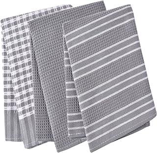 Paños de cocina, 100% algodón, de tejido de lino, diseño vintage, se pueden utilizar como plato de té toallas/trapo de cocina, 3unidades, en gran tamaño 45x 65cm, 100% algodón, Gris, 45x65cm