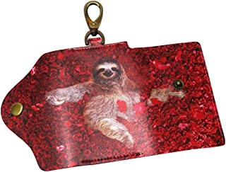 DEYYA Cute Baby Sloth Tree Floral Flowers Leather Key Case Wallets Unisex Keychain Key Holder with 6 Hooks Snap Closure