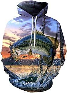 Mens Womens Unisex Mouth Bass Fish 3D Hoodie Sweatshirt Casual Cool Long Sleeve Tops Blouse