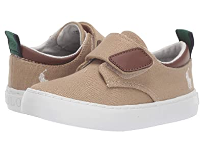 Polo Ralph Lauren Kids Charter EZ (Toddler) (Khaki Canvas/Ivory Pony) Boy