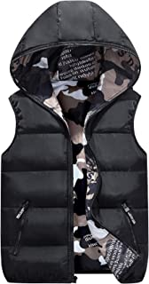 Winter Hooded Vest Padded Camouflage Reversible Waistcoat Sleevelss Jacket 3-9T