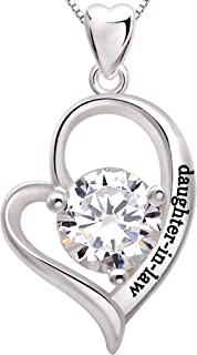 ALOV Jewelry Sterling Silver Daughter-in-Law Love Heart Cubic Zirconia Pendant Necklace
