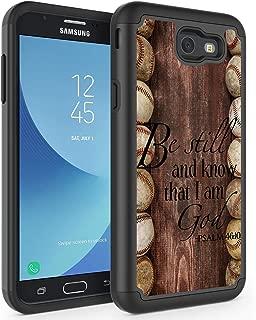 Galaxy J7 V/J7 Prime/J7 Perx/J7 Sky Pro/Galaxy Halo Case,Rossy Hybrid TPU Plastic Dual Layer Armor Defender Protection Case for Samsung Galaxy J7 2017,Baseball Bible Verse Psalm 46:10 Quote