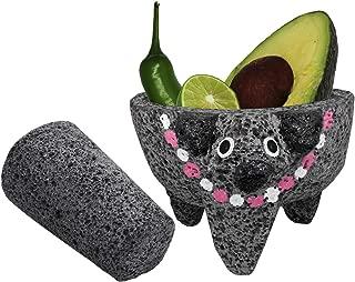 Molcajete Authentic Handmade -PIG HEAD w/Pink Collar - Mexican Guacamole/Salsa Mortar and Pestle - MOLCAJETE LAVA ROCK - 4 Inches - Molcajete de Piedra Negra/Black Stone Mortar & Pestle Molcajete
