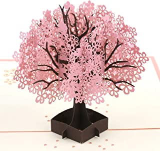 Lerual Cherry Blossom Tree Pop Up Card, Greeting Card, 3D Flower Card for Handmade Birthday Gift, Thank You, Card for Mom - Comes with Kraft Envelope(Pink)