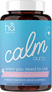 Calm Aura - Natural Stress & Anxiety Relief Pills for Adults - Mood Support Adaptogen Blend - Vegan Non-GMO w/ Ashwagandha...