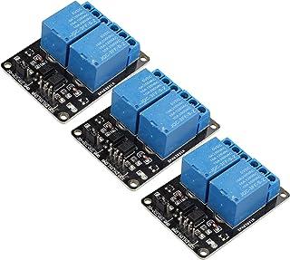 HALJIA - Módulo de relé de 2 canales, 3 unidades, 5 V, placa de expansión de relé, accesorios de tablero con optocopiadora...