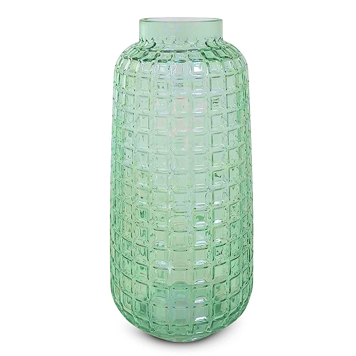 WHW Whole House Worlds Farmers Market Spring Vase, Rustic Apple Green, Forest Spring Time Themes, Decorative Faceted Glass, 10 1/4 Inches Tall