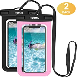 HOOMIL Waterproof Phone Pouch, IPX8 Universal Dry Bag Waterproof Case for Huawei P30 Lite/Honor 8X/Moto G7 Power/G6 up to 6.5-inch, Underwater Case for Pools Beach Kayaking Travel 2 Pack (Black, Red)