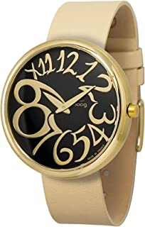 Moog Paris Ronde Art-deco Women's Watch with Black Dial, Interchangable Beige Strap in Fabric - M41671-003