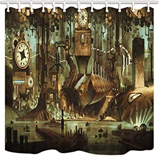 NYMB Science Fiction Shower Curtain, Machinery Clock Steampunk Steel Industrial City, Polyester Fabric Waterproof, Vintage Bathroom Shower Curtain Set with Hooks, 69X70in