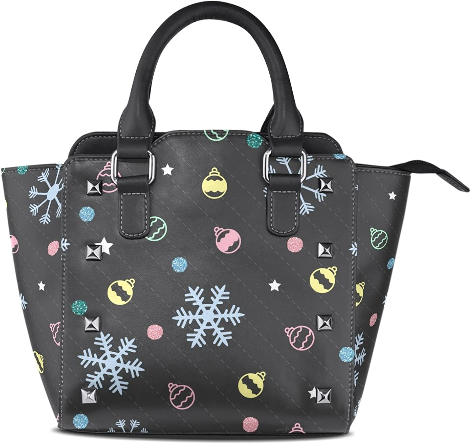 My Little Nest Women's Top Handle Satchel Handbag colorful Christmas Snow Star Ball and Dots Ladies PU Leather Shoulder Bag Crossbody Bag