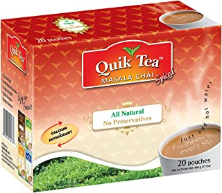 Quik Tea All Natural Masala Spiced Chai Latte Mix Made from Assam Teas All Natural No Preservatives 20 Pouches (480 g / 17 oz)