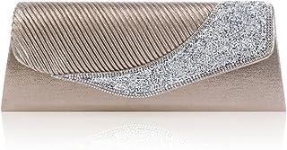 Damara Womens Pleated Flap Embellishment Crystal Wedding Evening Bag,Grey