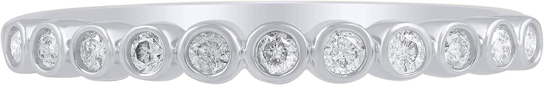 TJD 14K Solid Gold 1/5 Cttw Genuine Diamond Bezel Set Eternity Stackable Engagement Wedding Band Ring (H-I Color, I2 Clarity)
