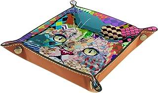 FCZ Plateau de rangement en cuir de chat multicolore pour chevet, bureau, boîte de rangement pour bijoux, clés, portefeuil...