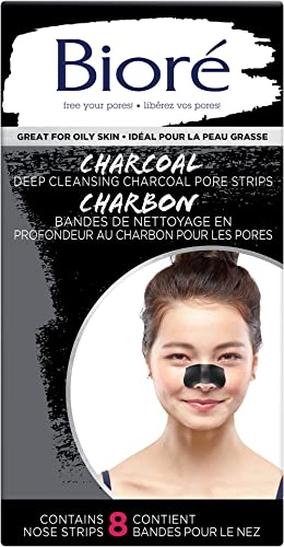 Bioré Deep Cleansing Charcoal Pore Strips for Instant Pore Unclogging and Blackhead Removal (8 Count)