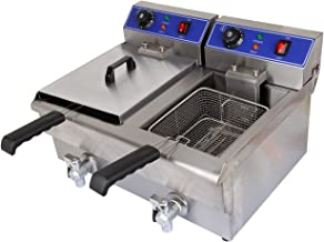 Ridgeyard 20L Commerical Dual Tank Deep Fryer Stainless Steel w/Timer and Drain for Home Fast Food Restaurant