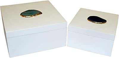 Cheung's 4745-2 Set of 2 Wood Square Box with Agate Stone, White, 2 Piece