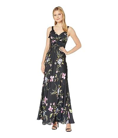 JILL JILL STUART Printed Floral Gown with Tie (Black Multi) Women