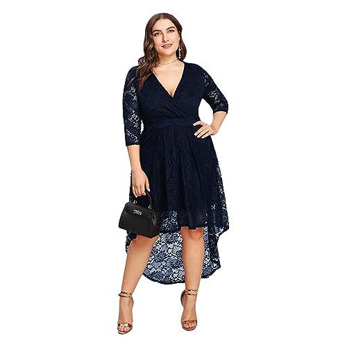c34a83af057 GMHO Women s Plus Size Floral Lace Off-The-Shoulder Cocktail Formal Swing  Dress