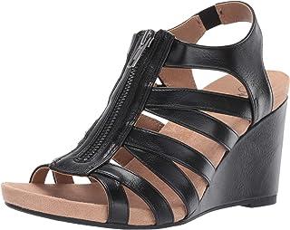 LifeStride Women's Hollie Wedge Sandal, Black, 10 M US