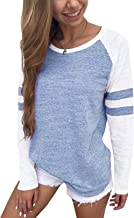 YOINS Color Block Long Sleeve T-Shirt for Women Casual Basic Striped Pullover Round Neck Tunic Tops