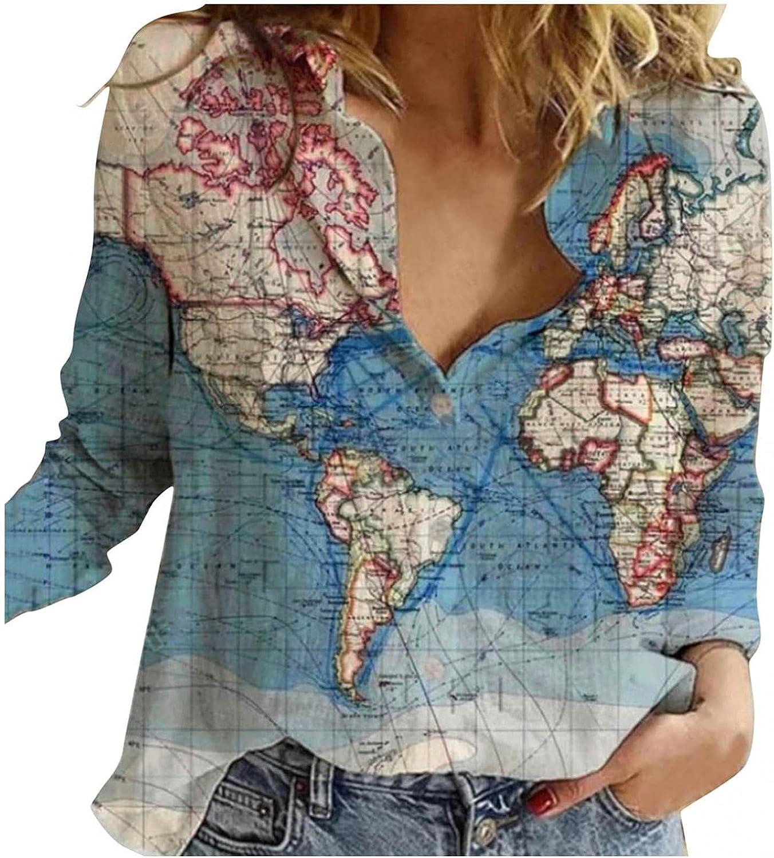 Jaqqra Womens Long Sleeve Tops, Womens Button Down World Map Print T-Shirts Casual Long Sleeve Shirts Tops Blouse