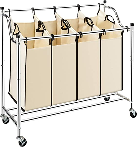 Bonnlo 4 Bag Heavy Duty Laundry Sorter Cart Rolling Divided Laundry Sorting Cart With Removable Bags And Brake Casters Beige