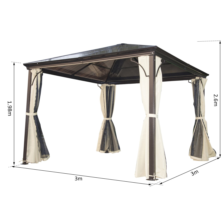 Cenador de jardín impermeable 4 paredes laterales anti rayos UV, 4 ...
